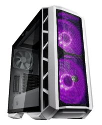 Cooler Master Mastercase H500P Atx Desktop Chassis White Tempered Glass Window w 2X 200MM Rgb Fans Mesh Front Panel.