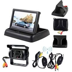 """Wireless 18 LED Ir Night Vision Car Reversing Backup Camera Waterproof + 4.3"""" Lcd Foldable Monitor Car Rear View Kit Parking Assistant For Bus Truck T"""