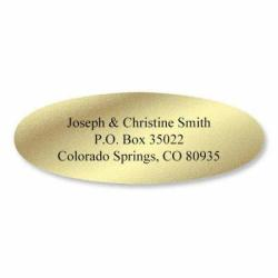 """Gold Foil Oval Address Labels - Set Of 240 2"""" X 3 4"""" Self-adhesive Flat-sheet Labels By Colorful Images"""