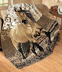 "Elegant Western Gallopping Horse Soft Fleece Throw Blanket - Polyester 63""X73"