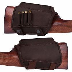BronzeDog Buttstock Cheek Rest Ammo Holder Leather Rifle Pad Waterproof Hunting Accessories .30-30 .308 Caliber