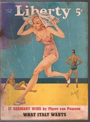 Liberty 7 13 1940- Pre Wwii Era-bishoff Swimsuit Cover-hitler-pulp Fiction-g vg