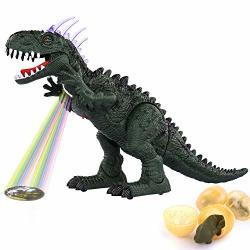 Temi Electronic Walking Dinosaur LED Light Up Toys For Kids Boys Girls Jurassic Green Tyrannosaurus T Rex Battery Powered Velociraptor Dragon Model W Sounds