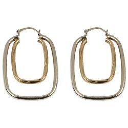 Silver - Sml N Big Tt Rect Hoop Earring