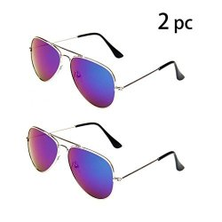 JF Store Wodison Classic Kids Aviator Sunglasses Bulk Reflective Metal Frame Children Eyeglass 2 Pack