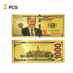 Lechay Pack Of 2 $1000 President Donald Trump 24KT Gold Plated Commemorative Bank Note 2020 Re-election Presidential Dollar Bill - Keep America Great