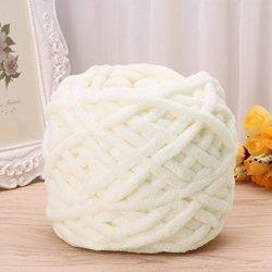 Amrka 100G 1BALL Soft Cotton Hand Knitting Yarn Super Chunky Bulky Woven Worested Yarn For Crochet White