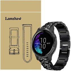 For Garmin Compatiable Venu Bands Blueshaw Jewelry Metal Rhinestone Diamond Bling Venu Smartwatch Black