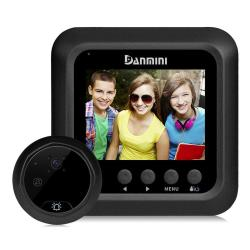Danmini W5 2.4 Inch Screen 2.0MP Security Camera No Disturb Peephole Viewer Doorbell Support Tf Card Night Vision Video Recording Black