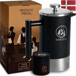 Barvivo French Press Coffee Maker - Best For Brewing Your Favorite Cup Of Coffee Or Tea - Comes With A Small Portable Travel Jar