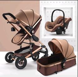 BABY Pram Stroller - 4 Wheel 3 In 1 Function Foldable Pram With Car Seat- Chocolate