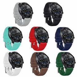 Teckmico 8PCS Ticwatch Pro Bands 22MM Silicone Sport Replacement Bands For Ticwatch Pro ticwatch Pro 4G Lte ticwatch S2 TICWATCH E2 GEAR S3 Smartwatch 8-PACK Colors