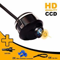 2X Car Front Rear 360° Rotatable Reverse Backup Parking CCD Mini Camera Kit Cool