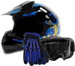 Typhoon Helmets Youth Kids Offroad Gear Combo Helmet Gloves Goggles Dot Motocross Atv Dirt Bike Blue Black Crazy Eye Small