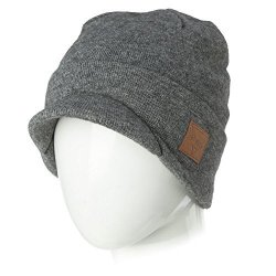 25ef744ef01 Siggi Mens Winter Jeep Beanie Hat Cap Wool Knit With Visor Bill For Women  Guys Grey XL Large