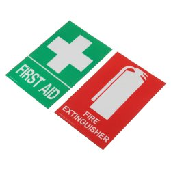 First Aid 100X66MM Fire Extinguisher Pvc Sticker Sign Decal Set Ohs Whs