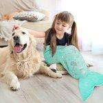 LANGRIA Mermaid Tail Blanket Glittering Flannel Super Soft Cozy Warm Mermail Tail Blanket For Kid Girl Green