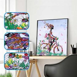 Minjisf Girl Riding Bike Diy 5D Diamond Painting Special Shaped Crystal Rhinestone Diamond Embroidery Paintings Arts Cross Craft For Adults And Beginner 40X40CM