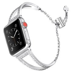 Secbolt Bling Bands Compatible Apple Watch Band 38MM Iwatch Series 3 2 1 Women Stainless Steel Metal Jewelry Bracelet Wristband