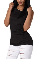 Women Vemubapis Casual Sleeveless Hoodie Backless Sports Tee Running Vest With Pockets Black S