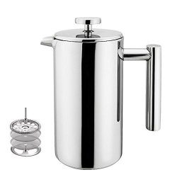 Highwin Small Stainless Steel French Press - 3 Cups 4 Oz Each Coffee Plunger Press Pot Best Tea Brewer & Maker Quality Cafetiere
