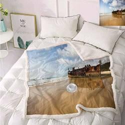 """Ocean Decor Faux Fur Blanket Antique Rusty Pirate Ship Wreck On The Coast In Caribbean Island Pacific Sea View Throw Blankets For Couch Multi 60""""X80"""