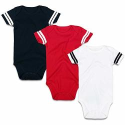 Romperinbox Infant Solid Baby Football Sport Jersey Bodysuits 3 Pack 0-24 Months 3-6 Months Sports Black White Red Short Sleeve 3 Pack