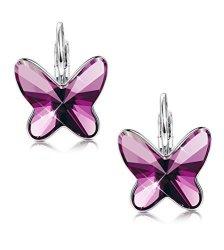4a9170361a20f0 Sllaiss Swarovski Earrings Butterfly Purple Crystal Leverback Earrings Hoop  Women Girls Gift Mom Wife Girlfriend Daughter Birthday Gift Women Jewelry