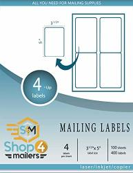 "SHOP4MAILERS 4-UP White Shipping Labels 3 1 2"" X 5"" 100 Sheets 400 Labels"