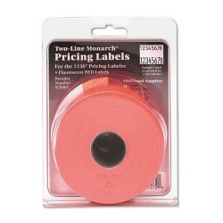 N A Monarch Paxar Two-line Easy-load Pricemarker Labels 0.625 X 0.875 Inches Fluorescent Red 3 500 Per Pack MNK925085