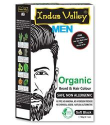 Indus Valley Organic Men Beard Mustache & Hair Color Soft Black For Safe & Non Allergenic With Free Hair Spa MASK-15 Ml Inside