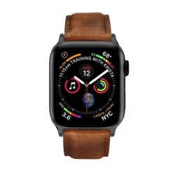 Colton James Leather Strap For Black space Grey 44MM Apple Watch - Brown