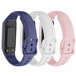 Ancool Compatible With Samsung Galaxy Fit E Band Soft Silicone Strap Replacement Sport Wristband For Samsung Galaxy Fit E MIL-STD-810G Fitness Smartwatch - Dark Blue white pink