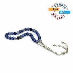 Albatrosart -gentle Men Collection- Prayer Beads-worry Beads-tesbih-tasbih-tasbeeh-misbaha-masbaha-subha-sebha-rosary Blue Spot Stone 8 MM-33 Beads