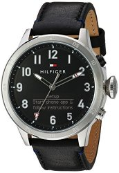 Tommy Hilfiger Men&apos S &apos Th 24 7&APOS Quartz Stainless Steel And Leather Smart Watch Color:black Model: 1