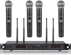 USA Wireless Microphone System Phenyx Pro Quad Channel Cordless MIC Set With Metal Handheld Mics 4X200 Channels Auto Scan Long Distance 328FT Ideal F