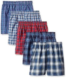 Byfruit Of The Loom Fruit Of The Loom Boys' Woven Boxer Exposed And Covered Waistband Pack Of 5 Assorted Small
