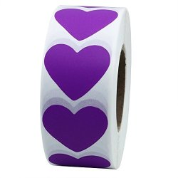 Hybsk Purple Color Coding Dot Labels 30MM Love Heart Natural Paper Stickers Adhesive Label 1 000 Per Roll 1 Roll