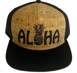 ThatsRad Aloha Pineapple Cork Snapback Mesh Trucker Hat Cap Flat Brim Shaka Hawaii