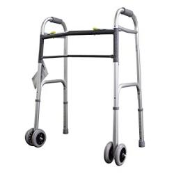 Lumex 604070W Imperial Collection Dual Release X-wide Folding Walker With 5 Wheels Pack Of 2