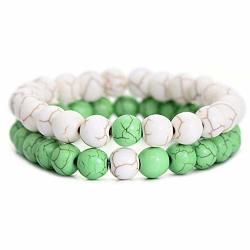 Ghome Distance Bracelets Friendship Relationship His Hers Couples Bracelets Black Matte Agate & White Howlite 8MM Beads Elastic Bracelet Green & White