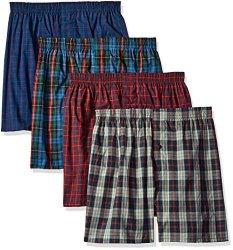 Fruit Of The Loom Men's Underwear Fruit Of The Loom Men's Premium Woven Boxer 4 Pack Tartan Medium