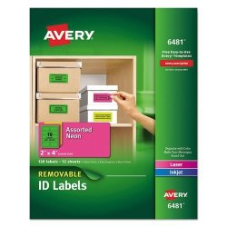 High-visibility Removable Id Labels Laser inkjet 2 X 4 Asst. Neon 120 PACK