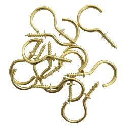 Fastener Solu - Cup Hook Round Brass Plated 25MM PK12