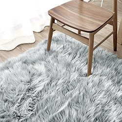 OJIA Deluxe Soft Modern Faux Sheepskin Shaggy Area Rugs Children Play Carpet For Living & Bedroom Sofa 3FT X 5FT Grey