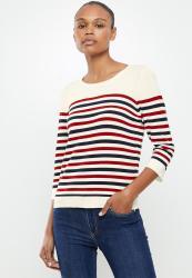 Vero Moda Lacole 3 4 Button Back Knit - Cream red navy