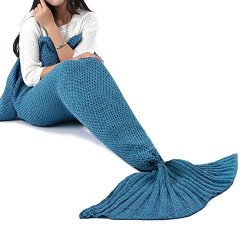 "LAGHCAT Mermaid Tail Blanket Crochet Mermaid Blanket For Adult Soft All Seasons Sleeping Blankets Classic Pattern 71""X35.5"" Lake"