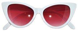 OWL Cat Eye Sunglasses White Red Smoke Lens