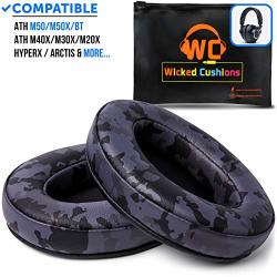 Camouflage BLACK Ath M50X Earpads Made By Wicked Cushions - Compatible With Audio Technica M40X M30X M20X M50XBT Hyperx