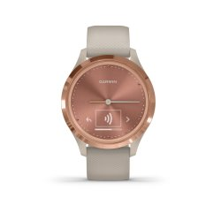 Mac Shack V Vomove 3S Series Hybrid Smartwatch - Light Sand Silicone With Rose Gold Hardware